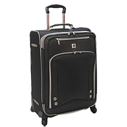 Expanding Black Olympia Skyhawk 26-inch Spinner Upright Suitcase