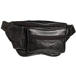Kozmic Front Zippered Black Leather Fanny Pack