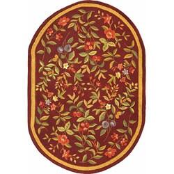 Safavieh Hand-hooked Botanical Burgundy Wool Rug (4'6 x 6'6)
