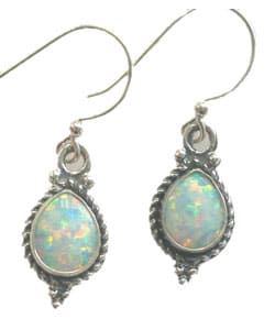 Tear Drop Opal &amp; Sterling Silver Earrings (India)