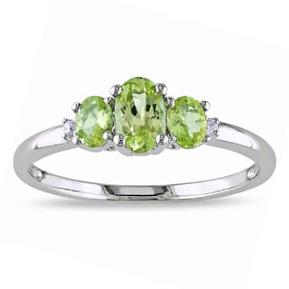 Miadora 10k White Gold Peridot and Diamond 3-stone Ring