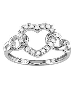 10k White Gold 1/5ct TDW Diamond Heart Ring (I-J,I2-I3)