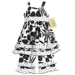 Sweet Jojo Designs Girl's 2-piece Black/ White Floral Outfit