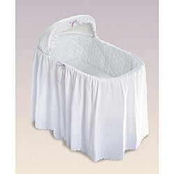 Jumbo Bassinet Long Eyelet Bedding Skirt Set-Neutral