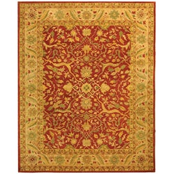 Handmade Antique Mahal Rust/ Beige Wool Rug (7'6 x 9'6)