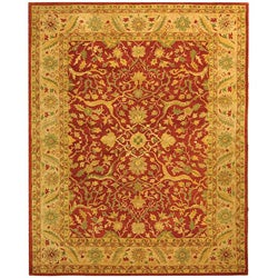 Handmade Antiquities Mahal Rust/ Beige Wool Rug (7'6 x 9'6)