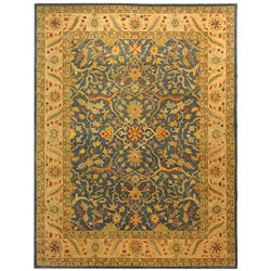 Handmade Antiquities Mahal Blue/ Beige Wool Rug (9'6 x 13'6)