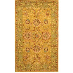 Handmade Antiquities Isfan Dark Gold/ Light Green Wool Rug (3' x 5')