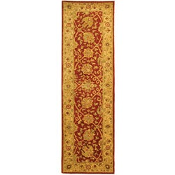 Handmade Antique Mashad Rust/ Ivory Wool Runner (2'3 x 8')