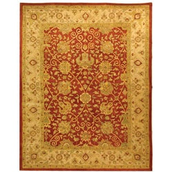 Handmade Antiquities Mashad Rust/ Ivory Wool Rug (7'6 x 9'6)