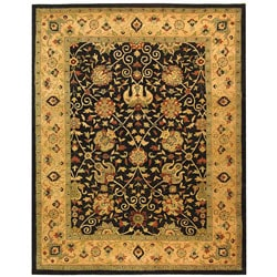 Handmade Antiquities Mashad Black/ Ivory Wool Rug (6' x 9')