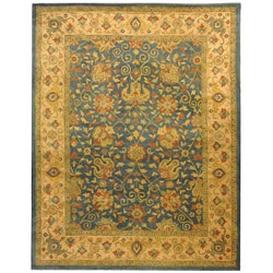 Handmade Antique Mashad Blue/ Ivory Wool Rug (9'6 x 13'6)