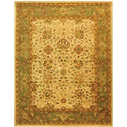Handmade Antiquities Mashad Ivory/ Green Wool Rug (6' x 9')