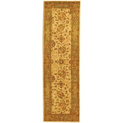 Safavieh Handmade Antiquities Mashad Ivory/ Green Wool Runner (2'3 x 12')