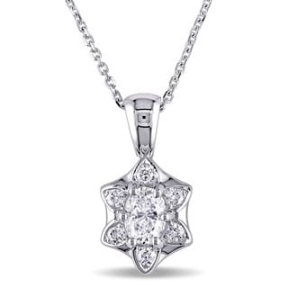 Miadora Signature Collection 18k White Gold 5/8ct TDW Diamond Necklace (E, VS1)