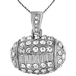 Silverplated Rhinestone Football Necklace