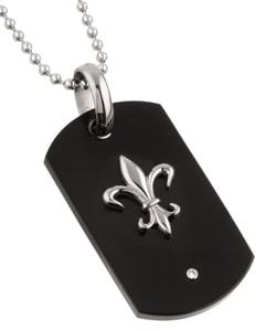 Men's Titanium Fleur de Lis Dog Tag Necklace