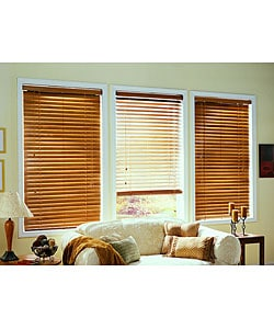 Golden Oak Real Wood Blinds (60 in. x 64 in.)