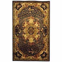 Safavieh Handmade Classic Empire Black/ Gold Wool Rug (5' x 8')