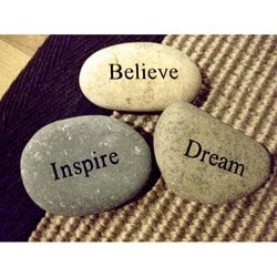 Kabella Inspirational 'Inspire, Believe, Dream' Stones (Set of 3)
