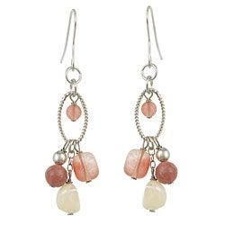 Glitzy Rocks Sterling Silver Cherry Quartz Glass Cluster Dangle Earrings