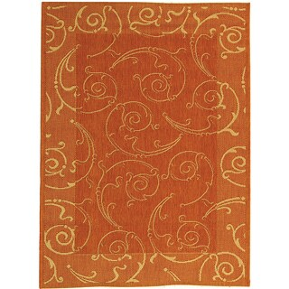 Safavieh Indoor/ Outdoor Oasis Terracotta/ Natural Rug (4' x 5'7)