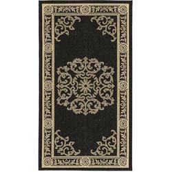 Indoor/ Outdoor Sunny Black/ Sand Rug (2'7 x 5')