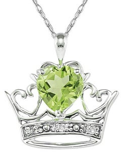 10k White Gold Peridot and Diamond Crown Necklace