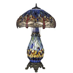 Tiffany-style Blue Dragonfly Table Lamp with Lighted Base