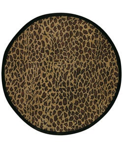 Hand-tufted Brown Leopard Animal Print Safari Wool Rug (8' Round)