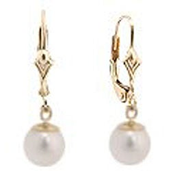 DaVonna 14k Gold Cultured White Akoya Pearl Leverback Earrings (7-7.5 mm) (Set of 3)