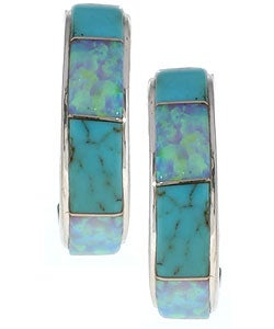 Sterling Silver Turquoise and Opal Earrings