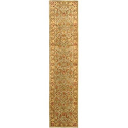 Handmade Heritage Kermansha Green/ Gold Wool Runner (2'3 x 8')