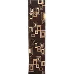 Safavieh Handmade Soho Gala Brown/ Beige N. Z. Wool Runner (2'6 x 12')