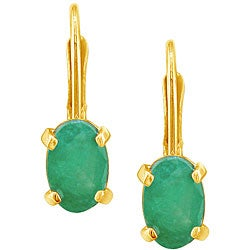 14k Yellow Gold Oval Emerald Leverback Earrings