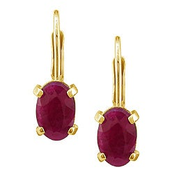 14k Yellow Gold Oval Ruby Leverback Earrings