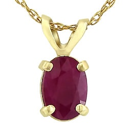 14k Yellow Gold Oval Ruby Necklace