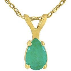 14k Yellow Gold Pear-shape Emerald Necklace
