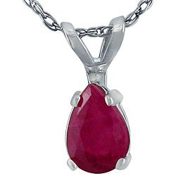 14k White Gold Pear-shaped Ruby Necklace