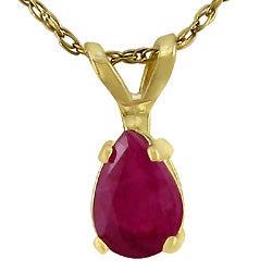14k Yellow Gold Pear-shape Ruby Pendant