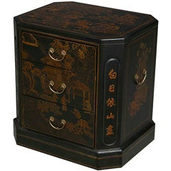 Hand-painted Black Bonded Leather Oriental End Table