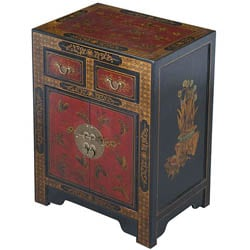 Hand-painted Oriental Black Bonded Leather End Table