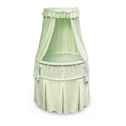 Elite Oval Bassinet with Sage Dots Bedding