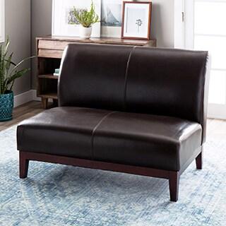 Cole Dark Brown Leather Loveseat