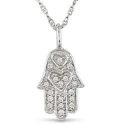 14k White Gold Diamond Accent Hamsa Necklace