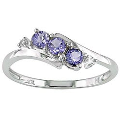10k White Gold Tanzanite and Diamond Curve Ring