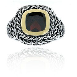 Glitzy Rocks Sterling Silver Garnet Rope Design Ring