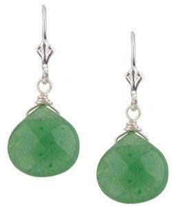 Charming Life Sterling Silver Green Aventurine Briolette Earrings