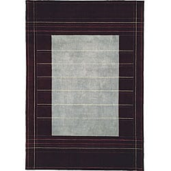 Nourison Calvin Klein Home  Hand-knotted Wine Wool and Silk Rug (8'3 x 11')