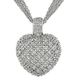 Sterling Silver 1ct TDW Diamond Heart Necklace (J-K, I3)